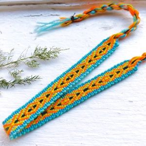 Jewelry - 3 for $12 ➤ Blue | Neon Orange Boho Woven Bracelet